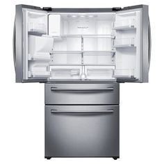 French Door Refrigerator with 5 Spill Proof Glass Shelves, Twin Cooling Plus System, FlexZone Drawer, High Efficiency LED Lighting and External Ice/Water Dispenser 4 Door Refrigerator, Stainless Steel Refrigerator, Samsung, Black Stainless Steel, Glass Shelves, Adjustable Shelving, French Doors, Appliances, Refrigerators
