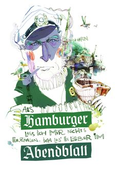Print advertisement created by Oliver Voss, Germany for Hamburger Abendblatt, within the category: Media. Newspaper Stand, Ad Of The World, Ludwig, Urban Sketching, Print Magazine, Hamburger, Illustrators, Creative, Sketches