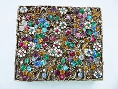 Vintage 1940's Original by Robert jeweled rhinestones powder compact case