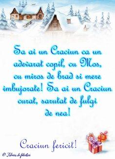 Să ai un Crăciun ca un adevarat copil, cu Moş, cu miros de brad şi mere îmbujorate! Să ai un Crăciun curat, sărutat de fulgi de nea! An Nou Fericit, Christmas Greetings, Merry Christmas, Diy And Crafts, Crafts For Kids, Winter Scenery, Holidays And Events, Vintage Christmas, Advent