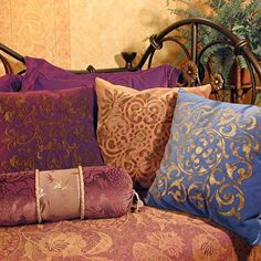 Tile stencils in gold on velvet pillows. Easy and decadent! | Large Verona Tile Stencil | http://www.royaldesignstudio.com/