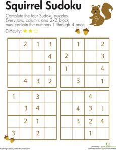 Sudoku is a fun logic puzzle that lets kids use their logical reasoning and critical thinking skills. On this worksheet, kids help a squirrel solve four Sudoku puzzles. In each row, column, and block the numbers and 4 must appear once and only once.