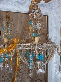 Upcycled Chandelier Gold Chandelier Beaded Aqua  by CissysCrafts, $250.00