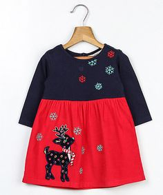 Look what I found on #zulily! Red Reindeer Embroidered A-Line Dress - Infant & Kids #zulilyfinds