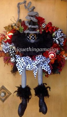 Witch Wreath Halloween Wreath by UniqueThingamajigs on Etsy