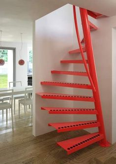 Square spiral staircase / metal frame / metal steps / without risers TSS 067 EeStairs Staircase Metal, Standard Staircase, Staircase Design, Staircase Ideas, Open Staircase, Staircase Remodel, Spiral Staircases, Steel Stairs, Loft Stairs