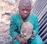 Photo: Delta State Police nabs man with human parts stored in jerry cans and concealed in bags of garri