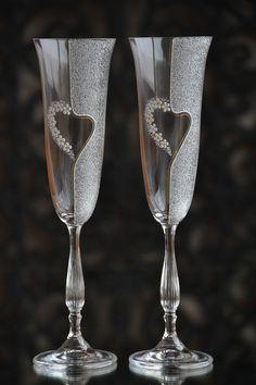 Champagne Glasses, Wedding Flutes Set, Handmade Glass, Wedding Flutes Set, Anniversary Glasses, Mr and Mrs Wedding Glasses, Matching Glasses by PolinikaGlass on Etsy