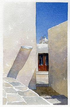 greek shadows - 2 by Thomas W. Schaller Watercolor ~ 11 inches x 8.5 inches