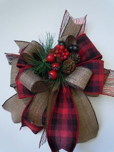 Country Plaid Winter Wreath Bow Christmas Rustic Christmas Burlap Wreath Bow Pine Cones Berry Christmas Swag Bow Winter Country Home Decor Christmas Lanterns, Christmas Swags, Christmas Tree Toppers, Holiday Wreaths, Rustic Christmas, Christmas Holidays, Christmas Crafts, Christmas Ornaments, Plaid Christmas