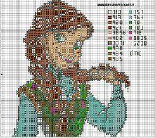 Anna from Disney's Frozen cross stitch pattern