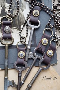 antique skeleton keys with scraps of leather and bullet shell casings recycled, upcycled jewelry Vault31jewelry.com