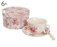 CUISINE PROVENZALE: Set di 6 scatole con tazza e piattino in ceramica con decori rosa - 16x9 cm