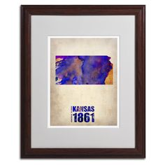 Kansas Watercolor Map by Naxart Matted Framed Painting Print