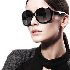 Classic Women Sunglasses Female Glasses Polarized Sunglasses Women's Fashion Vintage Big Box UV Sunglasses  Black With Box 6216
