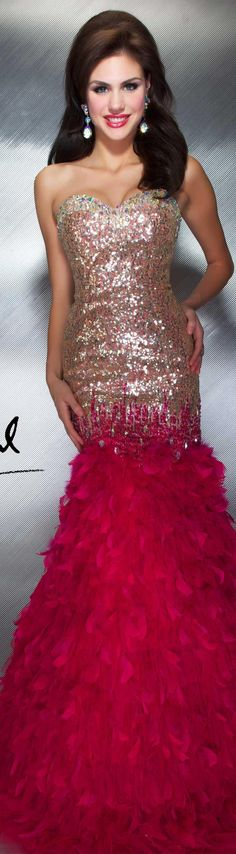 Mac Duggal couture dress fuchsia gold