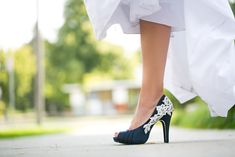 Wedding Shoes - Navy Blue Wedding Shoes/Bridal Shoes with Ivory Lace. US Size 7. $89.00, via Etsy.