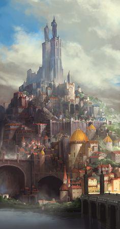 Ideas for medieval concept art cities deviantart Fantasy City, Fantasy Castle, Fantasy Kunst, Fantasy Places, Fantasy Map, Medieval Fantasy, Fantasy World, Final Fantasy, Fantasy Island