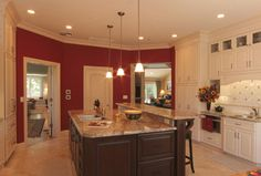 enchanting kitchen red accent wall | Red kitchen accent wall. Maybe? | Accent wall in kitchen ...