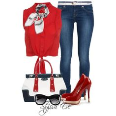 Red shirt with jeans and red heels, is classy and chic!