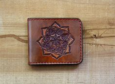 Leather Wallet mandala by PairOfHandsLeather on Etsy