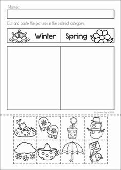 Groundhog Day Preschool Math and Literacy No Prep worksheets and activities. A page from the unit: sort the objects to the correct season cut and paste