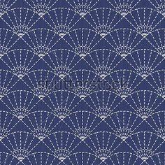 Традиционный японский орнамент вышивки с болельщиками. Векторный фон.