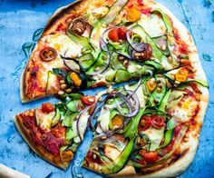 Courgette, bocconcini and tomato pizza by Nadia Lim | NadiaLim.com