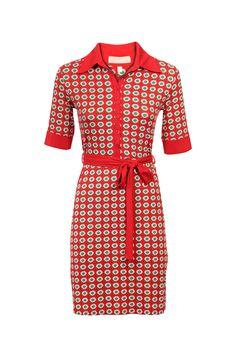 Vrolijke rood kleed met bloemen - Levering in België bij e5 mode