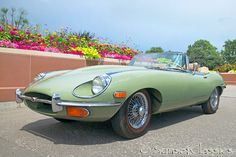 This is a beautiful Willow Green 1970 Jaguar XKE Roadster that was being prepped for a Barrett-Jackson auction but a lucky buyer was found before it made it to the auction.