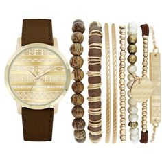 Jessica Carlyle Brown Womens Brown Boho Watch  Bangle Set ($25) ❤ liked on Polyvore featuring jewelry, watches, bracelets, accessories, bangles, brown, boho jewellery, brown jewelry, bangle set and boho jewelry