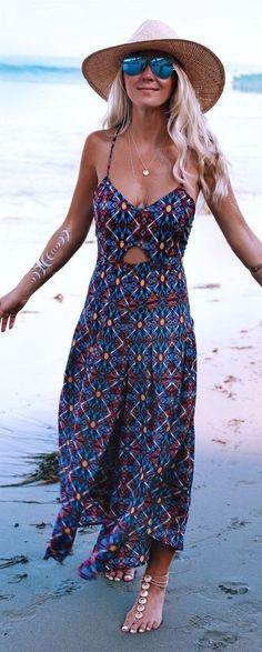 //Beautiful boho dress #summer #bohemian | Coachella printed maxi jumpsuit