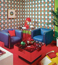 1970 living room design. Psychedelic 70s, wallpaper (Source: dtxmcclain)