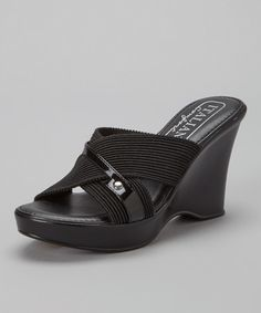 Another great find on #zulily! Black Cross-Strap Wedge by Italian Comfort #zulilyfinds