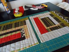 """The Quilting Edge: Tutorial/QAYG # 1/Making the Blocks in this series of  QAYG tutorials. This method of making the blocks is sometimes referred to as """"Stitch and Flip"""" 'm making wonky, log cabin type blocks, for this particular quilt. I am not going to attach the backing square to the batting square  until later because I don't want all the stitching starts and stops, to show on the back."""