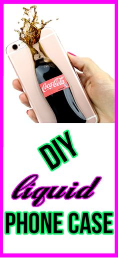 DIY Liquid Soda Phone Case! Make a fun, easy & cool DIY phone case inspired by Coca Cola. You can make any kind of soda - Pepsi, Fanta, Sprite, Mountain Dew, Dr. Pepper and more! Make your own new DIY phone case.  Watch the video tutorial to learn how to make this DIY liquid phone case.  Fun and cool DIY craft project!