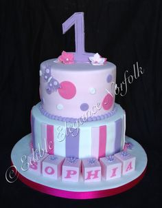 A pretty pink and lilac cake for a 1st birthday with flowers and butterflies x