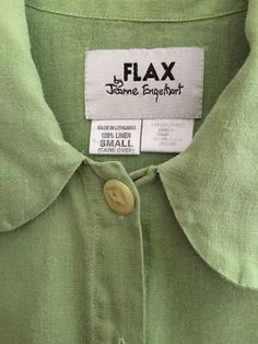 "❤️ Womens Flax Jeanne Engelhart Shirt Top Sz Small S Grn Linen Chest 48"" Like XL #Flax #ButtonDownShirt #Casual"