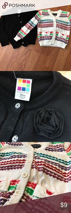 "Set of 2 cardigans 24mo black cardigan with clear ""crystal""buttons. 2t colorful heart cardigan with cute accent bow pockets Shirts & Tops Sweaters"