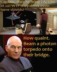 Star Trek Star Wars star-trek jean luc picard vs darth vader WHO WOULD WIN.Picard hands down. Starship Enterprise, William Shatner, Star Trek Ships, Star Trek Universe, Love Stars, My Guy, I Laughed, Decir No, Sci Fi