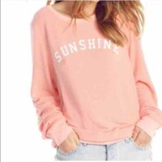 New Wildfox sunshine jumper sweatshirt white wine New and rare! Says white wine 7 on the back. Front says sunshine Wildfox Tops Tees - Long Sleeve