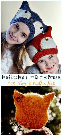 bb27ddabe33 Foxy  amp  Wolfie Hat KnittingPattern - Baby  amp  Kids Beanie  Hat