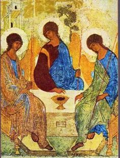 The Holy Trinity, icon by Andrei Rublev (The dance of the Trinity: perichoresis) Byzantine Art, Byzantine Icons, Russian Icons, Russian Art, Religious Icons, Religious Art, Andrei Rublev, Holy Art, Christian Artwork