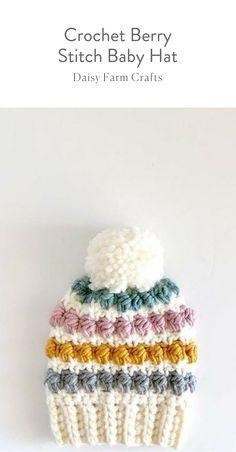 Free Pattern - Crochet Berry Stitch Baby Hat #moderncrochet #freecrochetpattern