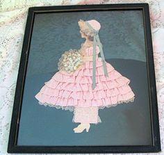 Antique Vintage Framed Pink Ribbon Art Picture Lady Girl Paper Doll | eBay