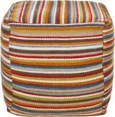 This pouf would be easy enough to make! Love the stripes.