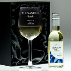 Personalised Glass and Wine Gift Set - Classic Bow Tie