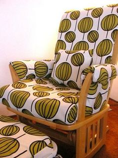 how to reupholster a glider chair.for the old, ugly glider I saw at the flea market two weeks ago and thought about buying! Glider Redo, Glider Slipcover, Glider Rocker Cushions, Glider Chair, Slipcovers, Recover Glider Rocker, Glider Rockers, Baby Nursery Diy, Baby Nursery Furniture