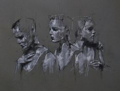 "guy denning – ""Aggression, competition, ambition"", conte and chalk on paper,"