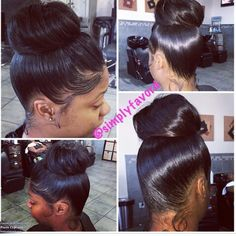 Tooo damn cute Cute Bun Hairstyles, Black Wedding Hairstyles, Slick Hairstyles, Fancy Ponytail, Ponytail Updo, Natural Wavy Hair, Natural Hair Weaves, Natural Hair Styles, Ninja Bun